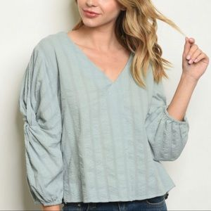 Easy wear pullover sage top